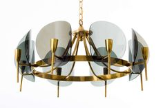 Concave Smoked Lucite Disc Chandelier | From a unique collection of antique and modern chandeliers and pendants  at https://www.1stdibs.com/furniture/lighting/chandeliers-pendant-lights/