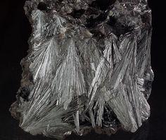 Pyrolusite, MnO2, Gremmelsbach, Black Forest, Germany. Radial crystals. Fov 8 cm. Copyright berthold