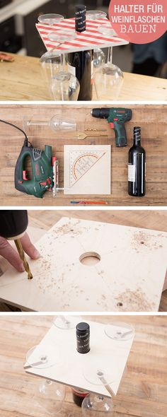 DIY Instructions: Building a Wine Glass Holder for a Wine Bottle / diy tutorial: craft a . - DIY instructions: build a wine glass holder for wine bottle / diy tutorial: craft a wodden holder f - Wine Glass Candle Holder, Glass Holders, Wood Gifts, Diy Gifts, Glitter Wine, Christmas Wood, Diy Woodworking, Diy Tutorial, Diy And Crafts