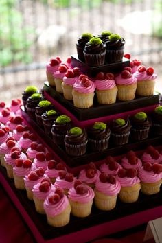 Cupcake tower - from Sam's Club! 30 cupcakes for $12?!? pick any color and add berries or an edible decor