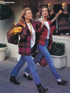 """A Perfect Mix"", Vogue US, circa 1991  Models: Karen Mulder & Unknown"