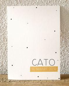 Cato | Kleine Streepjes/unieke geboortekaartjes Baby Vans, Geometric Bear, Baby Posters, Birth Announcement Boy, 30th Birthday Parties, Baptism Invitations, Creative Cards, Invitation Design, Baby Gifts