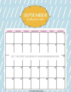 cute September 2017 printable calendar