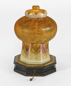 Tiffany Studios MOSQUE TABLE LAMP shade engraved L.C.T. Favrile upper finial engraved L.C.T. Favrile favrile glass with painted wood and gilt metal riser