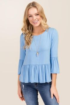 Kayla Solid Bell Sleeve Peplum Knit Top