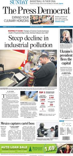 Press Democrat front page from Sunday, Feb. 23, 2014.