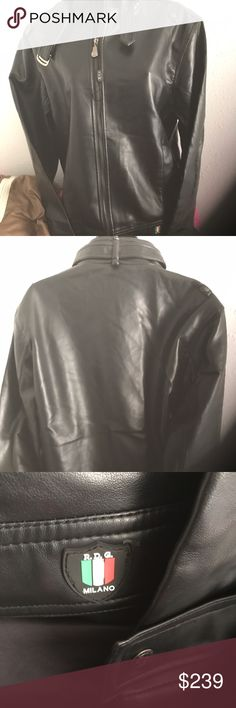 Authentic RDG Milano Leather Jacket New 100% Leather Black with pockets on each side and one pocket inside has  signature embellishments on zipper smoke free pet free home Great for Bikers Report Signature Jackets & Coats Performance Jackets