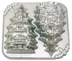 """Nordic Ware Christmas Tree 3-D Baking Bundt Pan $22.00 Product Dimensions Measure 12.5"""" x 11.5"""" and 3.5"""" Deep Baking Pans Hold 9 Cups (2.4 Liters) Order at http://www.cookiecuttersplus.com/content-product_info/product_id-2422/nordic_ware_christmas_tree_3_d_baking_bundt_pan.html"""