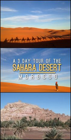 The awesome 3 day Sahara Desert tour in Morocco -- it's a lot of driving but it really is the ultimate desert experience.