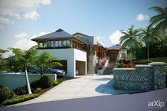 Вилла с множеством ракурсов.: архитектура, 2 эт | 6м, жилье, 500 - 1000 м2, коттедж, особняк, каркас - камень, ар-нуво #architecture #2fl_6m #housing #500_1000m2 #cottage #mansion #frame_stone #artnouveau arXip.com