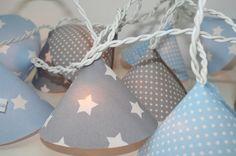 Lichterkette Stern hellblau/grau/weiß EXTRA LANG von FÜR GLÜCKSKINDER auf DaWanda.com