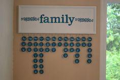 Wooden Family Calendar Wall Hanging