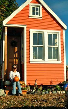 Little house in a burnt orange colour #littlehouses #orange #tinyhouses