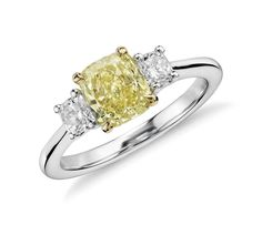 Yellow engagement rings are so on trend! Look at this lovely fancy yellow diamond three-stone ring Blue Nile Jewelry, Wedding Ring For Him, Yellow Engagement Rings, Yellow Diamond Rings, Three Stone Rings, Diamond Settings, Queen, Mellow Yellow, Colored Diamonds