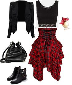 fashiongum.com here we see a nice black jacket worn with lace black crop top styled with tartan layered high-rise corset-like skirt, black leather bucket bag and boots.