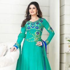 Light Teal Green Faux Georgette Abaya Style Churidar Kameez
