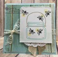 by Cindee: Jar of Love, Scenic Scenery dsp stack, Delicate Doilies, Burlap Ribbon, Lace Trim - all from Stampin' Up! Scrapbooking, Scrapbook Cards, Card Making Inspiration, Making Ideas, Mason Jar Cards, Mason Jars, Canning Jars, Love Jar, Diy And Crafts