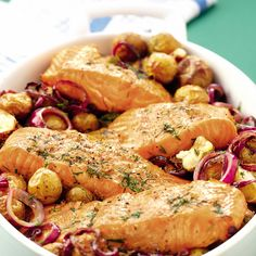 This dill-roasted salmon and new potatoes makes an easy but rather smart one-pot supper. Try it using lightly smoked salmon fillets too.