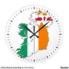 Celtic Nation Irish Map Large Clock