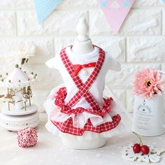 Spring Clothing For Dogs Puppy Dog Cat Pet Clothes Apparel Cotton Princess Party Grid Plaid Summer Girl Female Dog Dress XS-XL