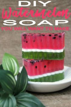 Ready for an easy DIY soap recipe? Try this homemade watermelon soap. Fun and cute watermelon scented soap that kids, teens, tweens and adults will lo Diy Soap Bars Without Lye, Soap Melt And Pour, Diy Tumblr, Soap Making Supplies, Art Supplies, Homemade Soap Recipes, Bath Recipes, Goat Milk Soap, Home Made Soap
