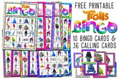 If you are looking for a fun and inexpensive game to play at your child's  Trolls themed birthday party, these Trolls Free Printable Bingo Cards are  perfect! The Trolls bingo cards are colorful and bright, featuring the  lovable and cheerful (and the not so cheerful) Trolls from the new  Dreamworks animation movie that hit the theaters in the fall of 2016.  Bingo is fun for kids of all ages to play, and best of all, these Trolls  bingo cards are free!!   Trolls Free Printable Bingo Cards...