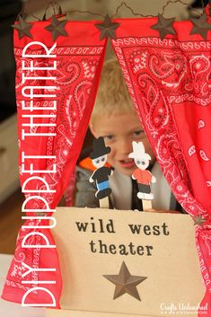 Wild West Puppet Theater for Kids -- make a wild west theater for your kids with these instructions! Wild West Puppet Theater for Kids -- make a wild west theater for your kids with these instructions! Fun Crafts For Kids, Craft Activities For Kids, Diy For Kids, Indoor Activities, Toddler Activities, Summer Kids, Kids Learning, Kids Playing, Reading