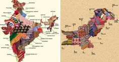 These beautiful textile maps of Pakistan and India show off embroidery techniques and hand-woven fabric across the countries.