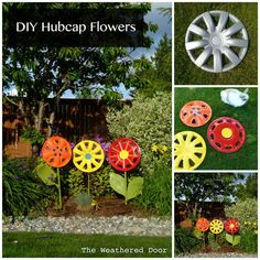 DIY Hubcap Flowers | DIY Cozy Home  I want to do this!