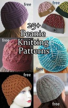Knitting patterns for Beanie hats, most are free knitting patterns