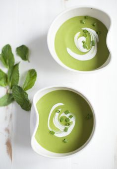 Minted Pea Soup with Cashew Cream | Choosing Raw