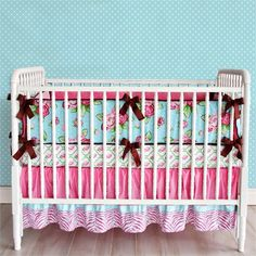 Love this pink and blue floral crib bedding set from #rosenberryrooms !