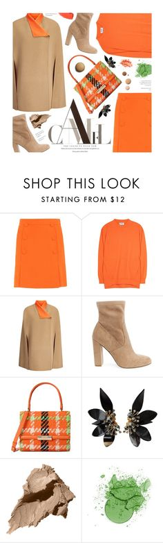 """""""Camel and Orange"""" by federica-m ❤ liked on Polyvore featuring Boutique Moschino, Acne Studios, Joseph, Steve Madden, NYX, Marni, Lumière and Bobbi Brown Cosmetics"""