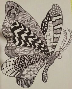 Butterfly by spaci zentangle drawings, doodle drawings, animal drawings, doodle art, zentangles Doodle Art Designs, Easy Doodle Art, Doodle Art Drawing, Cool Art Drawings, Zentangle Drawings, Art Drawings Sketches, Zentangles, Zentangle Art Ideas, Easy Nature Drawings