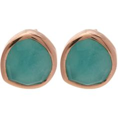 Monica Vinader Rose Gold-Plated Amazonite Siren Stud Earrings ($145) ❤ liked on Polyvore featuring jewelry, earrings, monica vinader, rose stud earrings, rose jewellery, rose gold plated earrings and rose jewelry