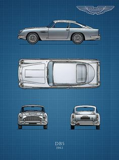 Blueprint Aston Martin Db5 Print By Mark Rogan