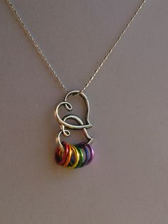 Gay Pride Necklace Double Heart Jewelry Silver by JacobsSilver