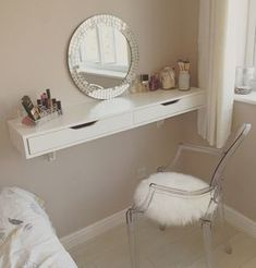 DIY Vanity Mirror With Lights for Bathroom and Makeup Station Makeup Vanity with Lights, Makeup Vanity with Lights Ikea, Makeup Vanity Table with Lighted Mirror, Professional Makeup Vanity with Lights, Vanity Room, Mirror Vanity, Ikea Vanity, Diy Mirror, Wall Mounted Makeup Vanity, Closet Vanity, Vanity Shelves, Room Shelves, Makeup Vanity Desk