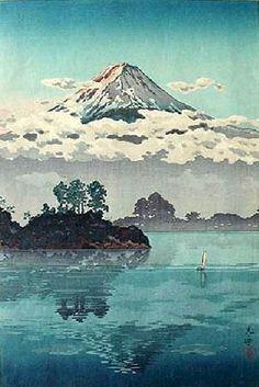 Fuji in Clouds, by Tsuchiya Koitsu, 1939