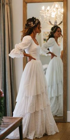 Modest Wedding Dresses With Sleeves, Evening Dresses For Weddings, Dream Wedding Dresses, Bridal Dresses, Lace Weddings, Gown Wedding, Wedding Cakes, Wedding Rings, Layered Wedding Dresses