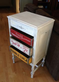 Painted Shabby Chic White Upcycled Victrola phonograph. We Transformed it into a unique set of dresser drawers, Soda Crate Drawers Coca cola, 7Up, RC Cola. One of a kind! Solid construction. LOCAL PICK UP ONLY. Posted with eBay Mobile See your other upcycled items on eBay and Etsy