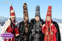 Kazakh girls wearing national costumes,Burabay,Kokshetau,Akmola region