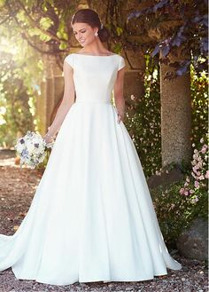 Buy discount Charming Satin Bateau Neckline A-line Wedding Dresses With Belt at Dressilyme.com