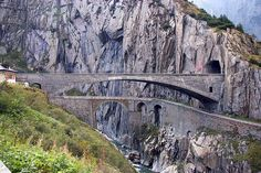 Teufelsbrücke of St. Gotthard Pass, Switzerland. The arched bridge was the second of the St. Gothard pass built in 1820. The third bridge forefront was built in 1958. The original bridge which no longer exists was built in 1230 .