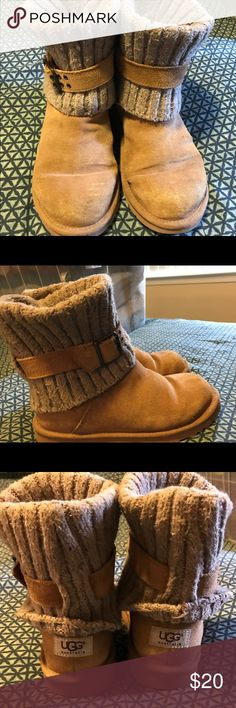 Chestnut Sweater Uggs Chestnut Sweater Uggs in a youth 4 which is a women's 6. Well worn and freshly cleaned. The sweater part can be rolled down or pulled up for a tall look. Buckle comes off and is adjustable. UGG Shoes Ankle Boots & Booties