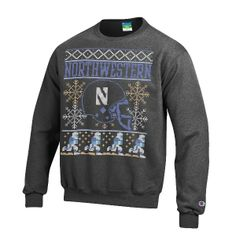 NORTHWESTERN® UGLY CHRISTMAS SWEATER SWEATSHIRT in GRANITE  When winter is here, you know holiday season is near. Ugly Christmas sweaters appear. 50/50 cotton/polyester.