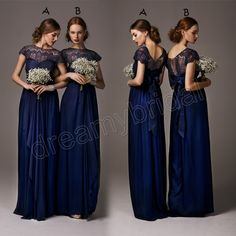 Free Shipping 2014 Elegant Cheap Bridesmaid Dresses Dress Formal Gowns Chiffon Royal Blue Short Sleeves Ruffles Lace Long Custom $119.00