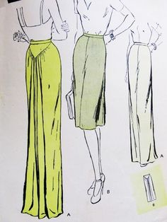 1940s DRAMATIC Evening or Day Skirt Pattern Butterick 3161 Film Noir Style Four Gore Back Draped Skirt Two Lengths Waist 31 Vintage Sewing Pattern