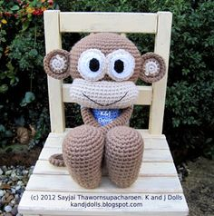 Huggy Monkey Crochet Pattern: New Pattern ~ Amigurumi crochet patterns ~ K and J Dolls / K and J Publishing. Pattern for purchase