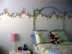 Rosebud floral swag border.  Painted by: Jaynne Sanderson
